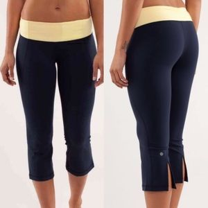 LuluLemon Gather & Crow Crop Leggings Yellow Band
